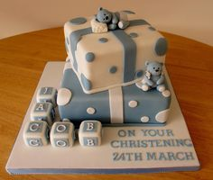 Baby boy christening cake. Blue teddy bears, letter blocks. Cakes as presents.