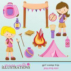 Girl Camp Trip Cute Digital Clipart