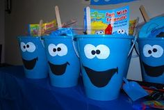 Treat buckets for a Cookie Monster Party