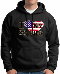 So Cool -  I Love My Soldier Premium Hoodie Sweatshirt Large Black / http://www.holidaygoodness.com/i-love-my-soldier-premium-hoodie-sweatshirt-large-black/