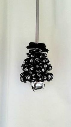Skulls on Black Christmas Tree Ornament by ThisandThatCrafter