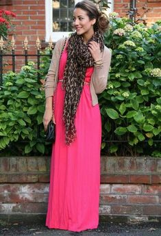 pink maxi with animal print scarf