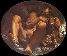 Pluto by Agostino Carracci, probably influenced by the description in Vincenzo Cartari's mythography, with the god holding his scepter and key, Cerberus at his side Ancient Greek Religion, Ancient Romans, Sun Conjunct Pluto, Zeus Jupiter, Annibale Carracci, Giuseppe Arcimboldo, Greek Paintings, Aries And Libra, Greek Pottery
