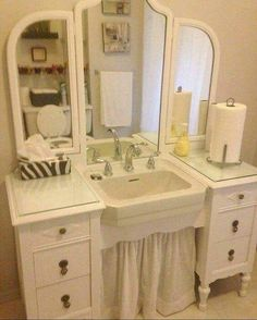 Best Ideas About Dresser To Vanity On Vessel Sink In Style - New Home Design Wallpaper Old Vanity, Pink Vanity, Dresser Vanity, Vanity Sink, Antique Vanity, Vintage Vanity, Closet Vanity, Vanity Fair, Primitive Bathrooms