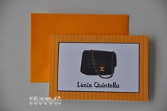 flavoli Papelaria Personalizada: Cartão duplo - Bolsa Chanel Angelina Ballerina, Frame, Home Decor, Party Labels, Chanel Purse, Neon Party, Bookmarks, House Party, Personalized Stationery