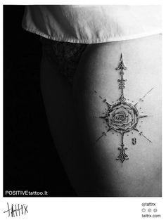 Dovydas Klimavicius Tattoo - Tiny Rose Compass  tattrx.com/artists/dovydas-klimavicius