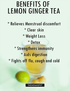 Remedies For Flu REASONS TO DRINK LEMON GINGER TEA - Ginger is commonly used to help an upset stomach, motion or travel sickness or general low-grade fevers. It is also excellent for nausea and for warming you up when you feel cold (it stimulates cold h Herbal Remedies, Home Remedies, Natural Remedies, Detox Drinks, Healthy Drinks, Healthy Recipes, Healthy Food, Smoothies, Ginger Benefits