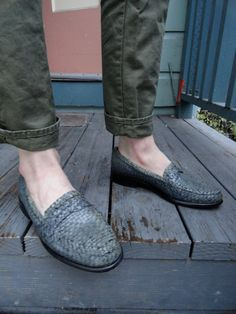 Authentic Vintage 70s Lorenzo Ferrini Gray Woven Leather Round Toe Mens Dress Shoes (sz 8.5). $62.00, via Etsy.