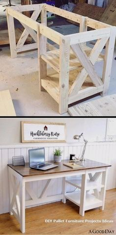 Diy Furniture Plans Wood Projects, Diy Pallet Furniture, Diy House Projects, Diy Pallet Projects, Farmhouse Furniture, Pallet Ideas, Rustic Furniture, Furniture Ideas, Farmhouse Desk