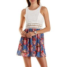 Charlotte Russe Blue Combo Lace & Floral Print Skater Dress by... ($15) ❤ liked on Polyvore featuring dresses, blue combo, white cutout dresses, skater dress, blue lace dress, white skater dress and lace up dress