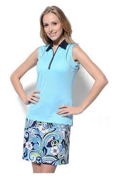 Monterey Club Ladies & Plus Size Golf Outfits (Shirt & Skort) – Moderate Blue/Navy