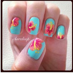 Teal and peach hibiscus