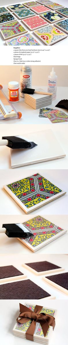 DIY Tile coasters with scrap book paper Crafts To Sell, Fun Crafts, Diy And Crafts, Crafts For Kids, Arts And Crafts, Sell Diy, Kids Diy, Decor Crafts, Azulejos Diy