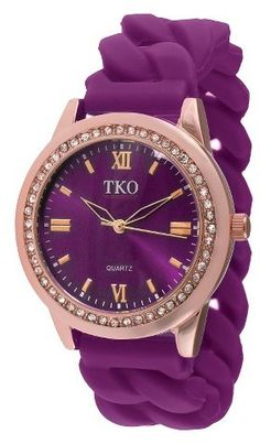 TKO Orlogi Women's TKO® Rubber Chain Crystal Bezel Watch - Rose Gold/Purplepurple, purple aesthetic, dark purple, light purple, everything purple, purple things, purple fashion ( affiliate )