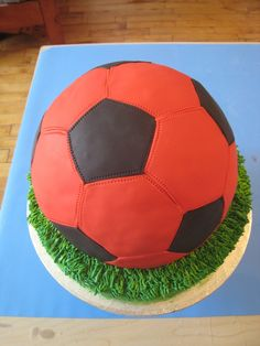 Red Soccer Ball Cake