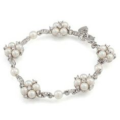 The Daisy Floral Motif Pearl and Crystal Bracelet