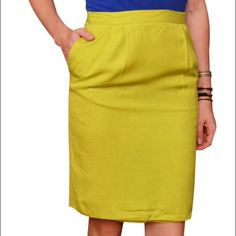 "Liz Claiborne Lime Green Skirt (8P) High-waisted knee-length skirt in vibrant neon/lime green. Rear zipper, button closure. Pockets, interior lining, rear vent. Excellent pre-owned condition. Made of rayon & acetate. From clean, smoke-free home.  ---------✄---------MEASUREMENTS---------✄--------- (taken on flat surface - use for accurate sizing) WAIST: 12.5"" HIPS: 20"" LENGTH: 22"" (extra 1"" of fabric inside hem)  ___________________________________ Please ask any questions before purchasing…"
