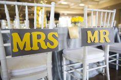 grey and yellow wedding decor, lemon centerpieces, a good affair wedding design, wedding signs