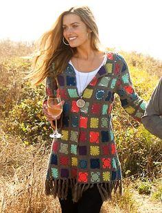 I love the small granny squares! Crochet Jumper, Crochet Coat, Crochet Cardigan, Crochet Clothes, Diy Clothes, Moda Crochet, Hippie Crochet, Unique Crochet, Crochet Fashion