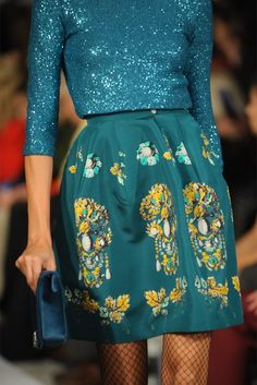 Teal and sparkles.