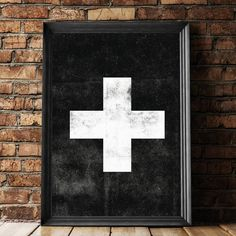 Swiss Cross black Scandinavian art http://www.amazon.com/dp/B016N2ADZU   inspirational quote word art print motivational poster black white motivationmonday minimalist shabby chic fashion inspo typographic wall decor