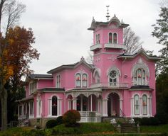 Edwin Bradford Hall, Wellsville, NY -- Edwin Bradford Hall, a prosperous pharmacist in the Wellsville area, built this unique Italianate after seeing a house similar to it in Italy. The house has been pink ever since it was built, and it is still owned and used by Hall's descendants. This home was designed by E.B. Hall along with Henry Searle & Sons, Architects (1809-92).