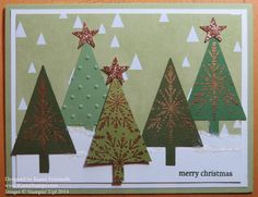 Many Merry Stars Christmas Tree Card is made with the Tree Punch after heat embossing in gold a stamped image on a scrap of green card stock.