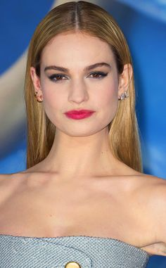 Lily James knows a regal hairdo when she sees one (she does play Cinderella, after all), and this silky-straight style with a strong center part is nothing short of princess-worthy.