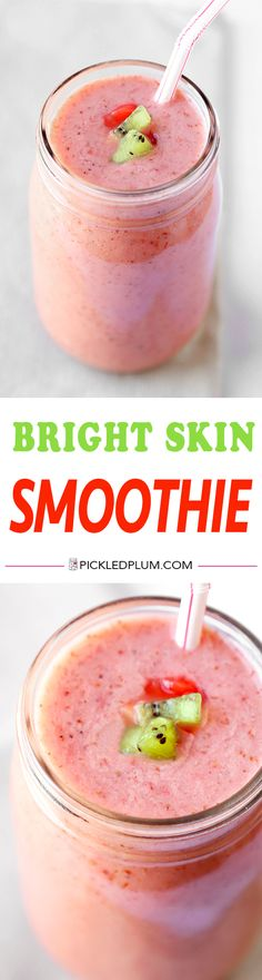 Bright Skin Smoothie - Zingy, refreshing and moisturizing for the skin! This bright skin smoothie brightens up the complexion and makes it glow - and it only takes 7 ingredients and 5 minutes to make! Healthy, Vegan, Gluten Free, Drinks, Recipe | pickledplum.com