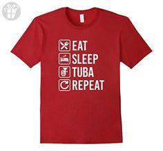 Men's Tuba Eat Sleep Repeat T-Shirt Large Cranberry (*Amazon Partner-Link)