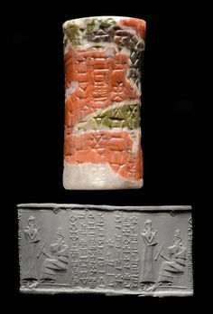 Kassite Agate Cylinder Seal, 14th-13 Century BCWith the seated figure of a bearded deity wearing horned headdress and long fringed robe, holding long rod in one hand, a standing bearded male worshipper in front, right arm raised in gesture of...