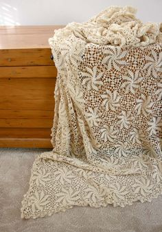 Vintage Crocheted Tablecloth - off white light cream beige delicate hand made Mothers Day. via Etsy.
