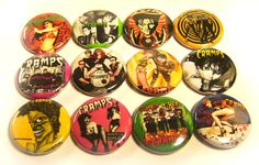 """12 THE CRAMPS ONE Inch Buttons 1"""" Pinback Pins Punk Rock Lux Interior Poison Ivy"""