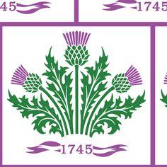 Jacobite Scottish Thistle, white bg fabric by rengal on Spoonflower - custom fabric