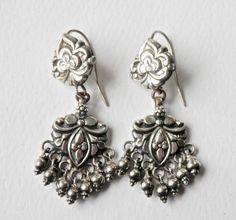 Silver Bridal Earrings Chandelier Earrings Vintage Chandeliers Sterling Silver Dangle Earrings Vintage Sterling Earrings Wedding Jewelry 925 by TheJewelryChain on Etsy