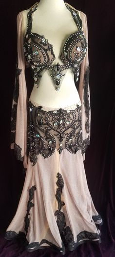 Professional Belly Dance Costume Nude Glitter Burnout Velvet C cup Belly Dance Outfit, Belly Dance Costumes, Light Up Clothes, Long Chiffon Skirt, Hollywood Dress, Fishtail Skirt, Full Circle Skirts, Dance Outfits, Bra Tops