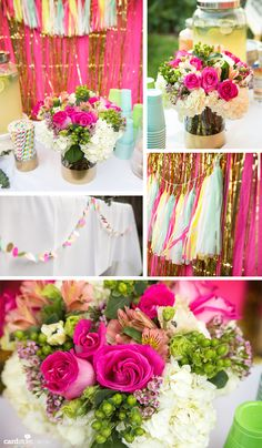 Celebrating summer and 30 years with a bright and colorful party! With Bannerie fringe tassel garlands! #summer #party #30years #birthday #fiesta #thebannerie
