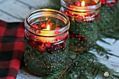 5+minute+DIY+Christmas+luminaries+|+Quick+and+easy+Christmas+decorating.+Whip+up+these+floating+candles+with+cranberries+and+cedar+for+a+stunning+table+centerpiece.+See+more+on+TodaysCreativeLife.com