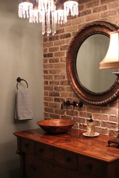 colors to complement Xan's brick wall in bathroom