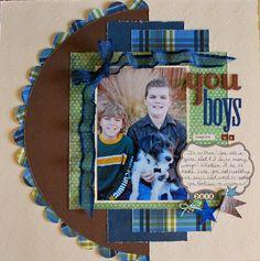 You Boys Inspire Us - Scrapbook.com( created by ScrapnKel) Wendy Schultz onto Scrapbook Layouts. great colors