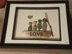 Love family pebble art drift wood
