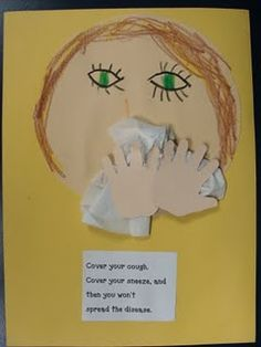 Can't find the original poster but love the tissue and hands. Kids would love to make this poster. Reminds me that we need to teach kids to wipe and blow their noses before they have a cold! Blowing through their noses while sinuses are clear will let them know what it feels like. Essential life skill!