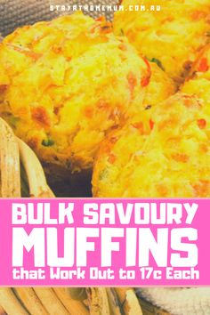 Try our Bulk Savoury Muffins Recipe - bulked up with fresh vegetables, it is healthy, freezable and will fill empty tummies and lunch boxes. Lunch Box Recipes, Great Recipes, Snack Recipes, Favorite Recipes, Budget Recipes, Lunch Ideas, Savory Muffins, Savory Tart, Family Meals