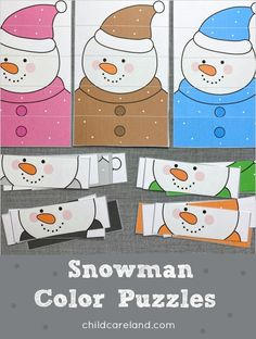 Snowman color puzzles color recognition and fine motor development. Early Learning Activities, Classroom Activities, English Worksheets For Kindergarten, File Folder Activities, Color Puzzle, Puzzle Pieces, Fine Motor Skills, Puzzles, Card Stock