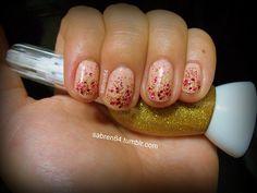 Maybelline Ivory Rose + golden glitter + fuchsia glitter