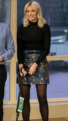 Holly Willoughby Legs, Holly Willoughby Outfits, Tv Girls, Beautiful Females, Autumn Clothes, Fashion Tights, Tv Presenters, Celebrity Outfits, Black Tights