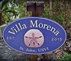"""We are absolutely loving the sign! It really makes our Villa stand out in the Virgin Islands! Beach House Signs, Virgin Islands, Dan, Villa, Twitter, How To Make, Design, The Virgin Islands, Us Virgin Islands"
