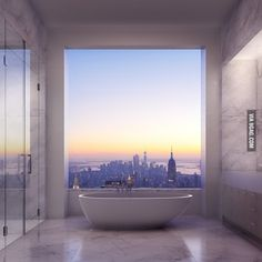 The Bathroom View from the $95 Million Penthouse at 432 Park Avenue, NY