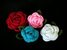 crochet Rose Brooches