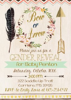 This listing is for a Gender Reveal Invitation in Tribal Theme-Boho. Please check out my shop for additional color ways of this design. Invitation